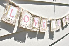 Burlap & Lace LOVE IS SWEET Banner, Custom Colors Available. $37.00, via Etsy. Burlap Lace, Wedding Events, Weddings, Love Is Sweet, Burlap Banners, Valentines, Romantic, Pretty, Party Ideas