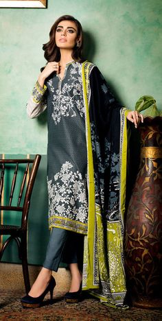 Buy Dark Grey Embroidered Linen A-line Dress by GulAhmed 2015 www.pakrobe.com Call:(702) 751-3523 Email: Info@PakRobe.com https://www.pakrobe.com/Women/Clothing/Buy-Winter-Salwar-Kameez-Online #WINTER #SALWAR #KAMEEZ