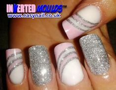 silver glitter pink white fancy nails