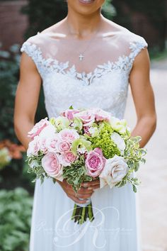Wedding bouquet greenery with lavender, coral and pink Toronto Wedding Flowers