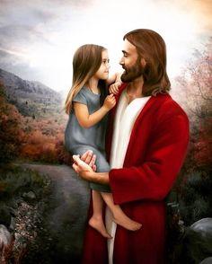 Lord Jesus with a little girl. Jesus Art, God Jesus, Christian Girls, Christian Faith, Tulpen Arrangements, Jesus Photo, Pictures Of Jesus Christ, Jesus Pics, Jesus Painting