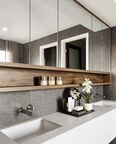 Gorgeous Bathroom Mirror Design Ideas - The fashionable bathroom mirrors with lights. Many people nowadays are interested in purchasing the LED mirrors. Top Bathroom Design, House Bathroom, Bathroom Interior Design, Room Renovation, Apartment Bathroom, Small Remodel, Bathroom Decor, Bathroom Mirror Design, Small Bathroom Remodel