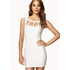 Forever 21 White Studded Cutout Bodycon Dress S A scuba knit bodycon dress featuring a studded cutout yoke. Shallow neckline. Sleeveless. Scoop back. Invisible zipper at the side. Unlined. Lightweight. Forever 21 Dresses