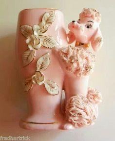 Vintage Lefton Pink Spaghetti Poodle Vase by iSweetPea Vintage Love, Vintage Pink, Vintage Items, Pink Love, Pretty In Pink, Hot Pink, Giant Poodle, Vintage Planters, Vintage Vases