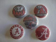 15 Alabama Crimson Tide buttons flat back or pin badge cabochons embellishments  #flatbackoneinchbutton