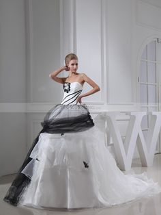 Tulle and Satin Strapless Gothic Wedding Dress with Floral Detail