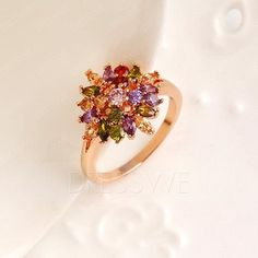 Grace Colorful Rhinestone Flower Ring