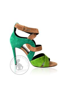 BARBARA BUI Blue/Green/Brown Suede Strappy Sandals (Size 39) - Haute Classics - Authentic Luxury Designer Consignment