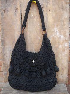 H a n d m a d e Crochet Knit Circle design bag Hobo women fashion Tote purse Ready to Ship