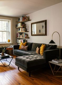 """""""A Sven sectional from Article provides maximum seating in the small apartment."""" Platform: Curbed Influencer: Coil + Drift Photographer: Read Mckendre living room seating Sven Shadow Gray Right Sectional Sofa Home Living Room, Apartment Living, Living Room Furniture, Living Room Designs, Living Room Decor, Living Spaces, Apartment Ideas, Apartment Furniture, Ikea Small Apartment"""
