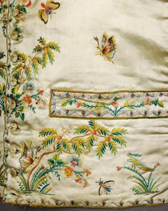 """Grasshoppers, butterflies & bees - oh my!  A garden in a c.1780-90 #French #silk waistcoat, detail @metmuseum"""