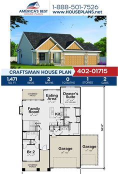 Get to know Plan 402-01715, a Craftsman design featured by 1,471 sq. ft., 3 bedrooms, 2 bathrooms, a covered patio, a vaulted master suite, and a kitchen island. Learn more about this Craftsman design and more on our website.