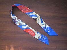 Blue Orange Silk Twilly Scarf Bag Tie Scarf Flowers Strap with Heart Print 41in x 2in (105 x 5cm) - Premium Quality