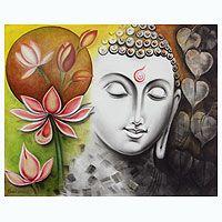 India Signed Original Buddha Painting - Timeless Beauty of Buddha Heart Wall Art, Tree Wall Art, Buddha Zen, Buddha India, Buddha Painting, Buddha Drawing, Indian Paintings, Tree Paintings, Indian Artist