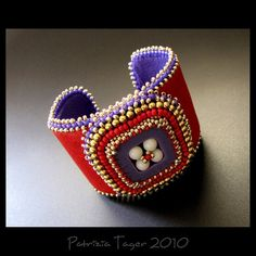 Retro Square Red, Purple and Gold  Bead Embroidered Leather Cuff by Triz Designs