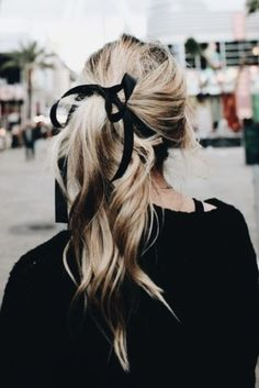 hair tie. black ribbon. all black. ponytail.
