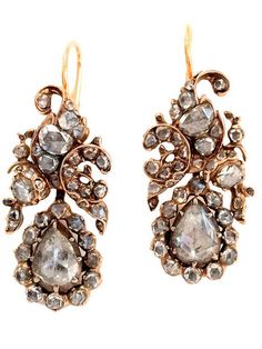 *Antique Floral Rose Cut Diamond Drop Earrings, Original Georgian chandelier earrings in 14k yellow gold with silver overlay feature 6 carats of rose-cut diamonds. Graceful, asymmetrical arabesque design. Rare, special and in extraordinary condition for their age.