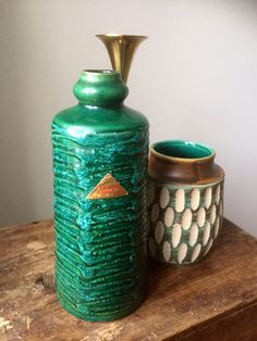 Excited to share this item from my shop: Strehla/East German Pottery/Vase/fat lava/jade green/WGP /importer sticker sesam Keramik/sweden/west german pottery I Shop, My Etsy Shop, Pottery Vase, Jade Green, Lava, Sweden, Color Pop, Vintage Items, German