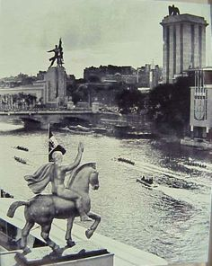 1937 Paris World Fair - German Pavillion against Soviet Pavillion.  The symbol of the war that was about to start. The communist revolution symbolized by the young figures dancing was finding a unsurpassable barrier in Nazi Germany.