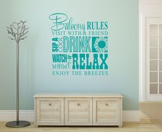 Balcony Rules Decal - Family Wall Decal - Wall Quotes - Beach Wall Decor - Vinyl Lettering - Love Wall Decal - Coastal Charm - Island Life DO YOU WANT TO SIP A COOL DRINK ON THE BALCONY...AT THE BEACH?! Wall Decals, Vinyl Decals, Rules Quotes, Wall Quotes, Beach Wall Decor, Love Wall, Family Wall, Vinyl Lettering, Island Life