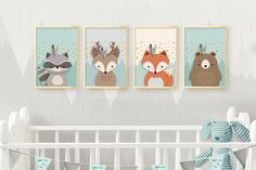 Woodland nursery, Nursery wall art, Nursery set, Nursery set of 4 print, Nursery Print, 4 giclee nursery, Forest friends, Nursery Giclee set. ❥ 3 cute-as-can-be forest friends and a beautiful mountain view will welcome you and your sweet child to my magical woodland fantasy world, where dreams do come true and all creatures are friends. This beautiful printable set is the perfect addition for you trendy, minimalist style home and nursery decor! ❥ These art prints are replicas of a GENUINE…