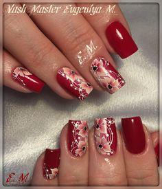 (56) Одноклассники Fancy Nails, Red Nails, Pretty Nails, 3d Nail Designs, Acrylic Nail Designs, Nail Ink, Purple Nail Art, Flower Nail Art, Elegant Nails
