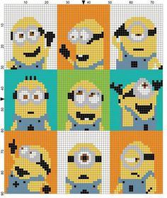 Cross Stitch Patterns Minion Each square equals one stitch - any of there: sc, (block stitch), hdc Crochet Pixel, Graph Crochet, Minion Crochet, Knitting Charts, Knitting Patterns, Crochet Patterns, Cross Stitch Designs, Cross Stitch Patterns, Cross Stitching