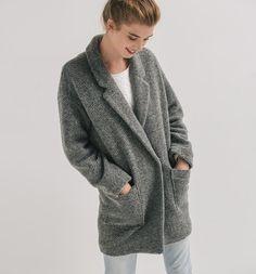 Vlněný over-size kabát světle šedá - Promod