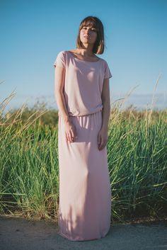 powder pink maxi dress by sistu