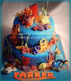 Amazing cake at a Finding Nemo birthday party! See more party planning ideas at CatchMyParty.com!