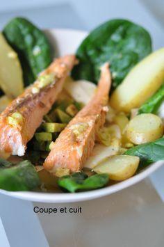 Salade de pommes de terre, saumon, avocat, mozzarella