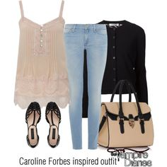 Caroline Forbes inspired outfit/TVD by tvdsarahmichele on Polyvore featuring Valentino, 7 For All Mankind and Forever New