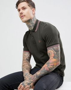 76f0088e Men's polo shirts · FRED PERRY TWIN TIPPED POLO IN KHAKI - GREEN. #fredperry  #cloth # #
