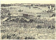 Vincent van Gogh Harvest Landscape Drawing