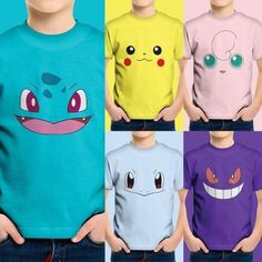 c7227189 Cute Pokemon Face Head Starters Nintendo Teen Youth Kids Tee Crew Neck T -Shirt