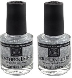 INM Northern Lights Hologram Silver Top Coat 2x INM #nail #nailidea #polish #nailpolish #shiny #sparkle #manicure