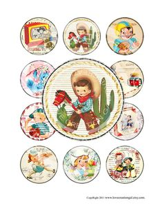 Vintage Retro Cowboy Girl Boy Birthday Party Celebrate Pregnacy Cupcake Topper Circle card Label Gift Tag Digital Collage Sheet Images Sh079 via Etsy