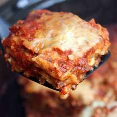 Slow Cooker Lasagna is so easy and yummy! You don't even have to cook the noodles!