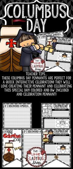 Columbus Day Activity Pennant Print & Go with these Pennants! These Columbus Day Posters are perfect for a quick interactive celebration with your students! Colored and BW included and celebration Columbus Day Bulletin Board Pennan