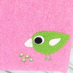 Bag tote handbag shoulderbag pink tweed wool needle felt green birdie and flowers. $45.00, via Etsy.