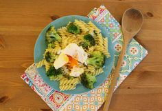 24 February 2015, Dinner: Garlic Oil Sauteed Pasta with Broccoli & Poached Egg! My dinner menu gets more exciting, eh? smile emoticon Cooked by myself.. feat. Yssa's lovely tea towel (just for decoration :P)