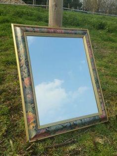 Retro-Vintage-Gold-Framed-Mirror-With-Floral-Painted-Design-Mr10
