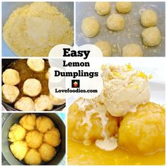 Easy Lemon Dumplings This is delicious! Quick and easy and great served warm with a blob of ice cream or whipped cream Lemon Coconut Slice, Whipped Cream, Ice Cream, Dumplings, Pudding, Sweets, Warm, Baking, Fruit