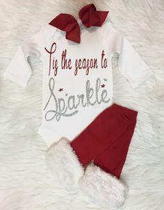 Christmas Onesie, Baby Girl Christmas Onesie, Christmas Shirt, Tis the season to sparkle Onesie, Onesie For Baby Girls