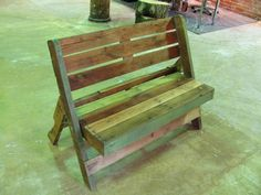 Folding Pallet Bench Pallet Seating, Pallet Crates, Wood Pallets, Pallet Benches, Recycled Furniture, Pallet Furniture, Furniture Projects, Pallet Projects, Pallet Ideas