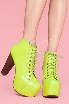 Platform Boot in Neon Yellow