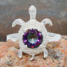 Turtle Design Mystic Topaz Gemstone 925 Sterling Silver Jewelry Ring Size us 7.5 #Handmade #Ring #Birthday