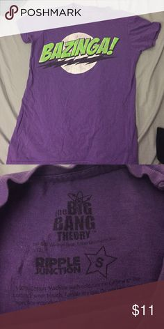 BAZINGA Purple Tee Channel your inner Sheldon with this official BBT BAZINGA shirt. BAZINGA! Size small, good condition. Hot Topic Tops Tees - Short Sleeve