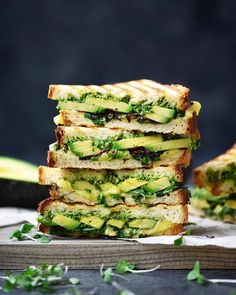 Amazing Sandwich  by @crowded_kitchen filled with Pesto + avocado + vegan cheese slices + microgreens Share with a friend!…