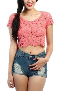 LoveMelrose.com From Harry & Molly | LACE CROCHET CROP TOP - CORAL
